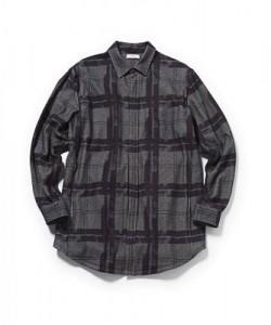 NAOTO SEVEN チェックロングシャツのブラック×ホワイト (S、M)